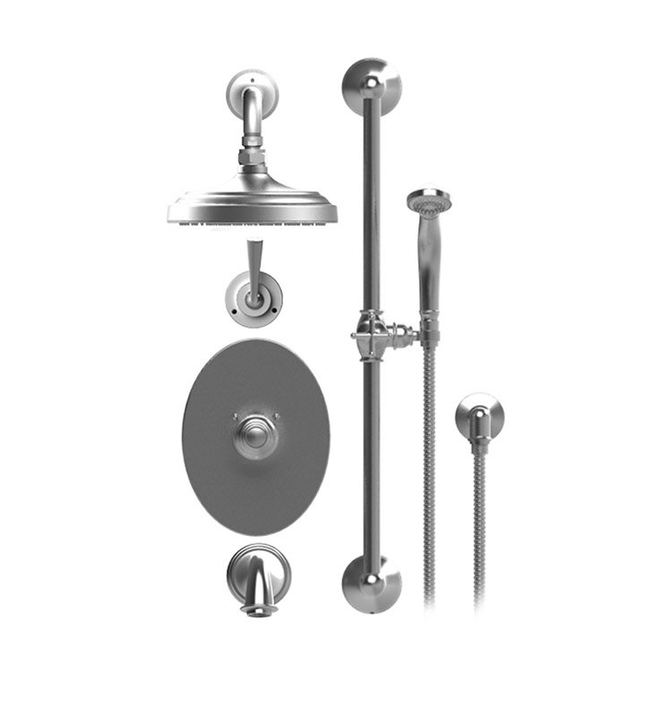 "Rubinet 24JSL Jasmin Temperature Control Tub & Shower with Three Way Diverter & Shut-Off, Handheld Shower, Bar, Integral Supply & Wall Mount Tub Filler Spout and Wall Mount 8"" Shower Head & Arm"