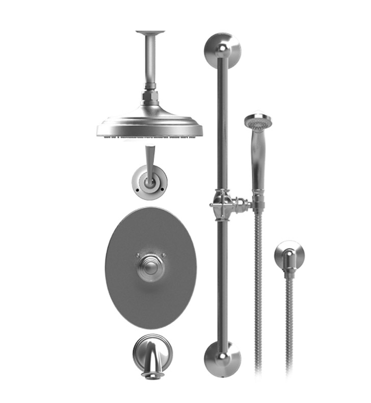 "Rubinet 25JSLSNSN Jasmin Temperature Control Tub & Shower with Three Way Diverter & Shut-Off, Handheld Shower, Bar, Integral Supply & Wall Mount Tub Filler Spout and Ceiling Mount 8"" Shower Head & Arm With Finish: Main Finish: Satin Nickel 