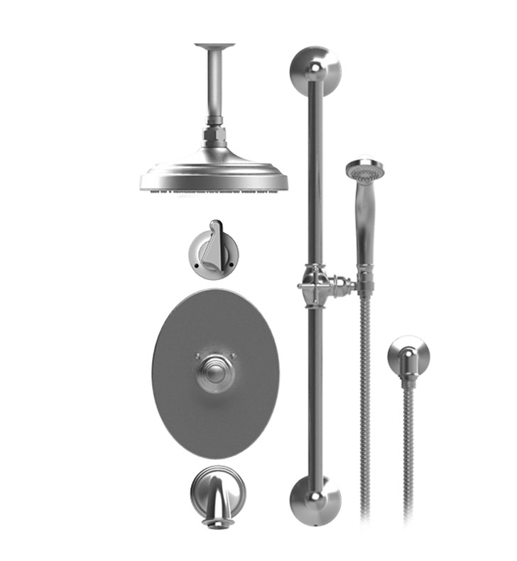"Rubinet 25JSSSNSN Jasmin Temperature Control Tub & Shower with Three Way Diverter & Shut-Off, Handheld Shower, Bar, Integral Supply & Wall Mount Tub Filler Spout and Ceiling Mount 8"" Shower Head & Arm With Finish: Main Finish: Satin Nickel 