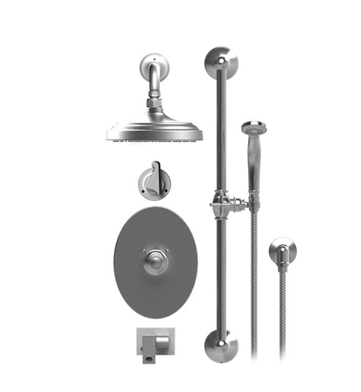 "Rubinet 27JSS Jasmin Temperature Control Tub & Shower with Three Way Diverter & Shut-Off, Handheld Shower, Bar, Integral Supply, Wall Mount Bidet/Foot Rinse and Wall Mount 8"" Shower Head & Arm"