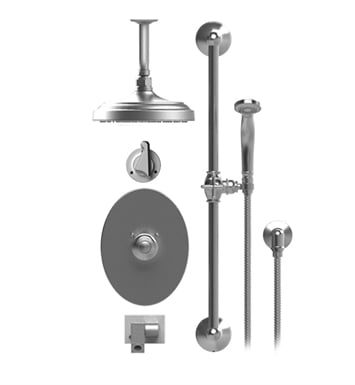 "Rubinet 28JSSCHCH Jasmin Temperature Control Tub & Shower with Three Way Diverter & Shut-Off, Handheld Shower, Bar, Integral Supply, Wall Mount Bidet/Foot Rinse and Ceiling Mount 8"" Shower Head & Arm With Finish: Main Finish: Chrome 