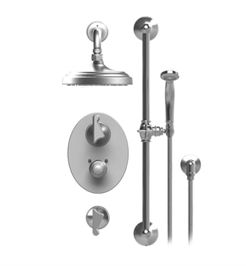 "Rubinet 41JSSGDGD Jasmin Temperature Control Shower with Wall Mount 8"" Shower Head, Bar, Integral Supply & Hand Held Shower With Finish: Main Finish: Gold 