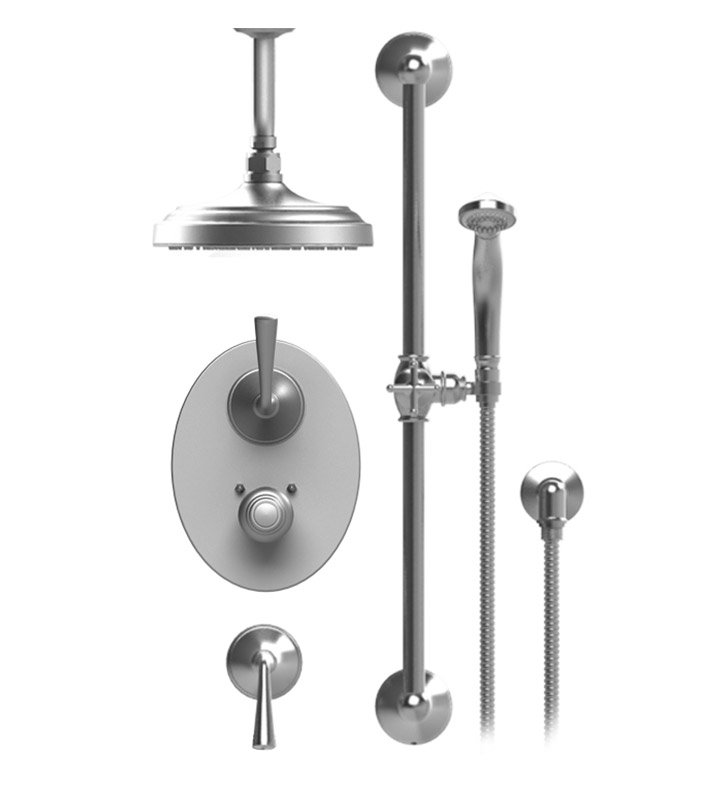 "Rubinet 42JSL Jasmin Temperature Control Shower with Ceiling Mount 8"" Shower Head, Bar, Integral Supply & Hand Held Shower"