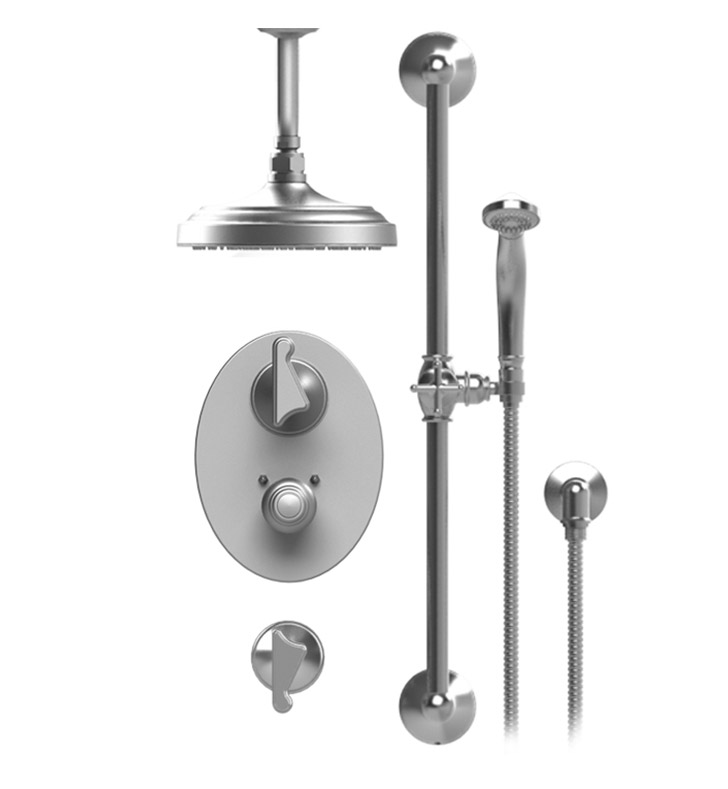 "Rubinet 42JSS Jasmin Temperature Control Shower with Ceiling Mount 8"" Shower Head, Bar, Integral Supply & Hand Held Shower"