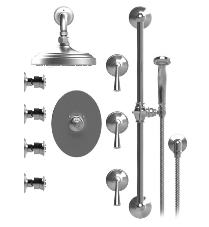 "Rubinet 46JSLCHCH Jasmin Temperature Control Shower with Wall Mount 8"" Shower Head, Bar, Integral Supply, Hand Held Shower & Four Body Sprays With Finish: Main Finish: Chrome 
