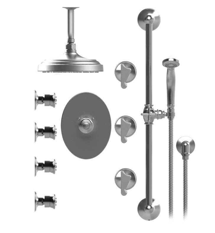 "Rubinet 47JSSSNSN Jasmin Temperature Control Shower with Ceiling Mount 8"" Shower Head, Bar, Integral Supply, Hand Held Shower & Four Body Sprays With Finish: Main Finish: Satin Nickel 