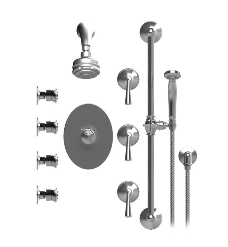 Rubinet 45JSLCHCH Jasmin Temperature Control Shower with Aquatron 3 Function Shower Head, Bar, Integral Supply, Hand Held Shower & Four Body Sprays With Finish: Main Finish: Chrome | Accent Finish: Chrome