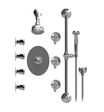 Rubinet 45JSSSNSN Jasmin Temperature Control Shower with Aquatron 3 Function Shower Head, Bar, Integral Supply, Hand Held Shower & Four Body Sprays With Finish: Main Finish: Satin Nickel | Accent Finish: Satin Nickel