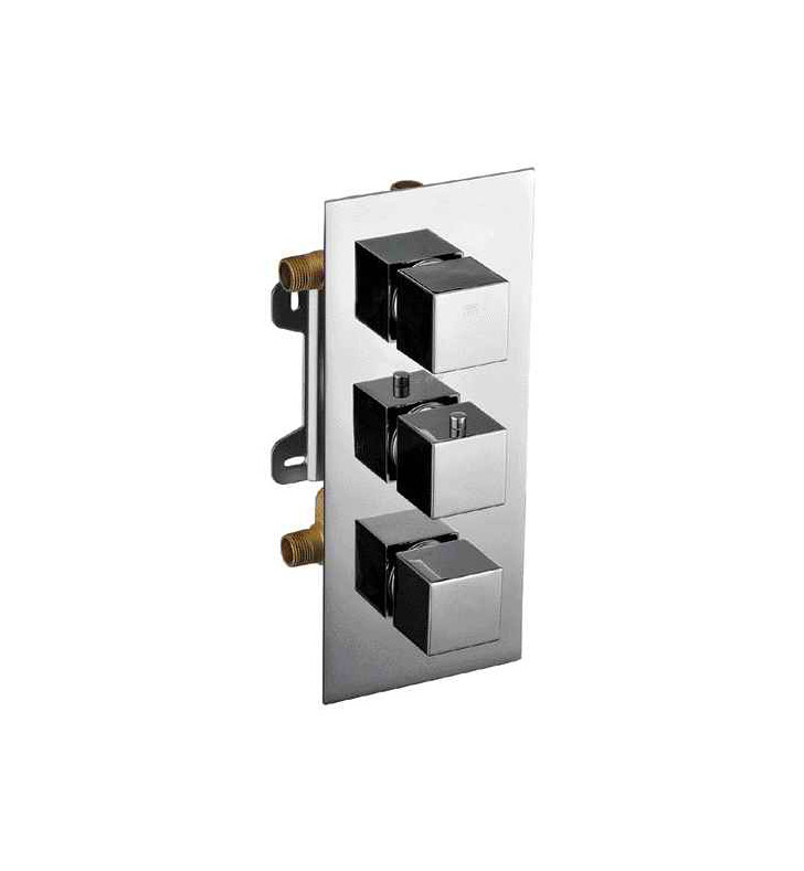 ALFI Brand AB2801-PC Polished Chrome Concealed 3 Way Thermostatic Valve Shower Mixer Square Knobs