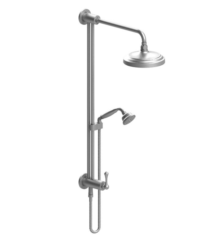 Rubinet 4UFM2SNSN Flemish Bar with Inlet at Shower Head, Shower Arm, Adjustable Slide Bar and Hand Held Shower with Diverter With Finish: Main Finish: Satin Nickel | Accent Finish: Satin Nickel