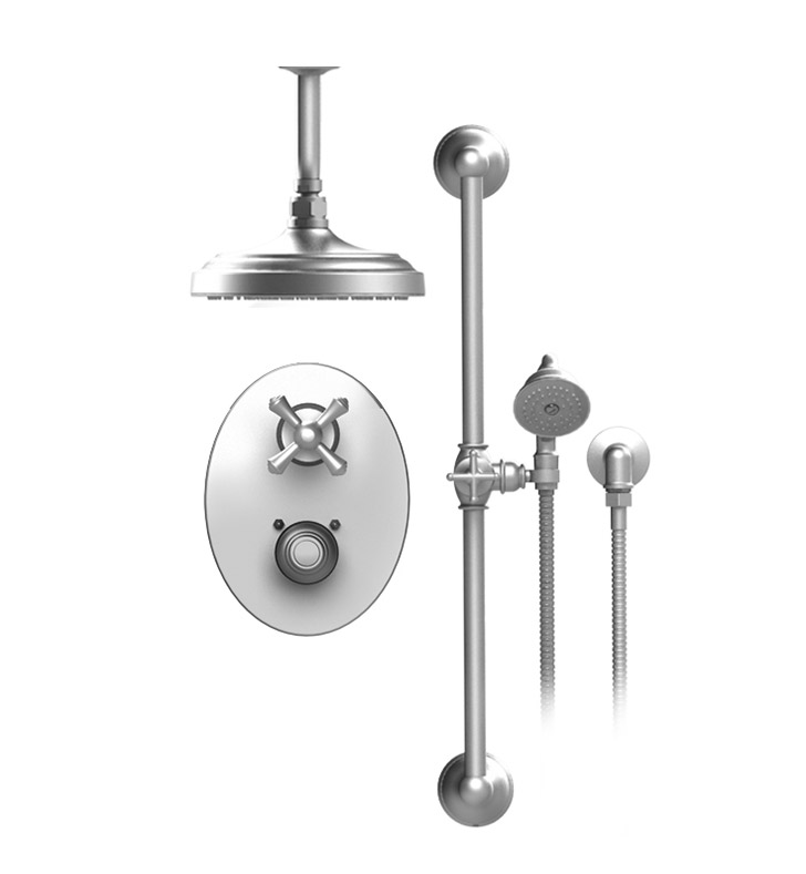 "Rubinet 22FMCCHCH Flemish Temperature Control Shower with Two Way Diverter & Shut-Off, Handheld Shower, Bar, Integral Supply & Ceiling Mount 8"" Shower Head & Arm With Finish: Main Finish: Chrome 