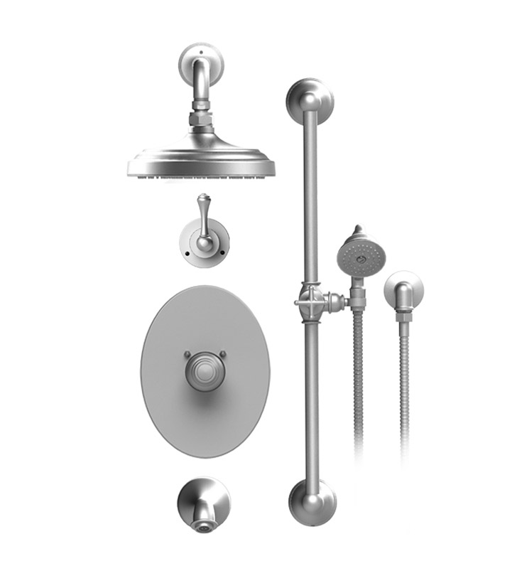 "Rubinet 24FMLSNSN Flemish Temperature Control Tub & Shower with Three Way Diverter & Shut-Off, Handheld Shower, Bar, Integral Supply & Wall Mount Tub Filler Spout and Wall Mount 8"" Shower Head & Arm With Finish: Main Finish: Satin Nickel 