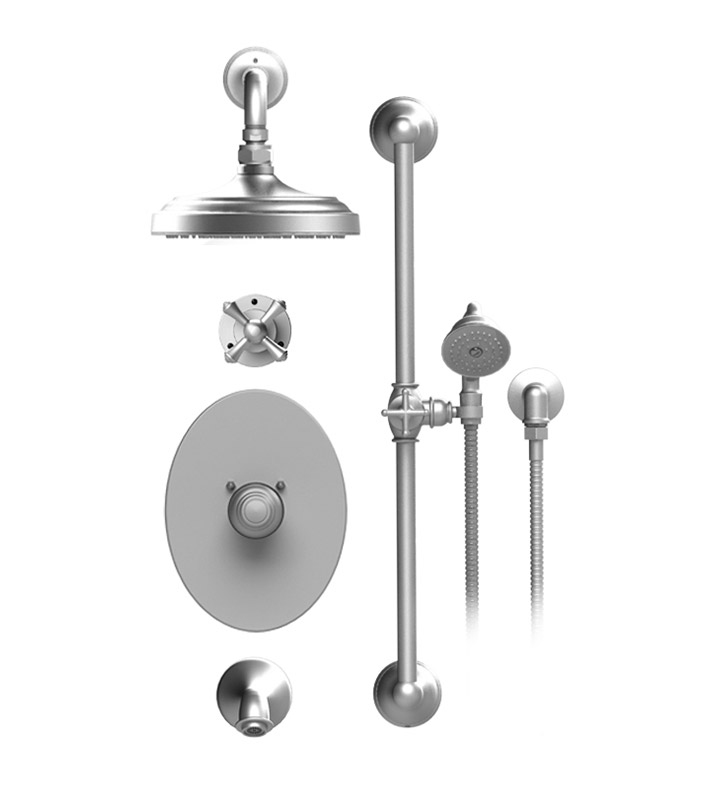"Rubinet 24FMCSNSN Flemish Temperature Control Tub & Shower with Three Way Diverter & Shut-Off, Handheld Shower, Bar, Integral Supply & Wall Mount Tub Filler Spout and Wall Mount 8"" Shower Head & Arm With Finish: Main Finish: Satin Nickel 