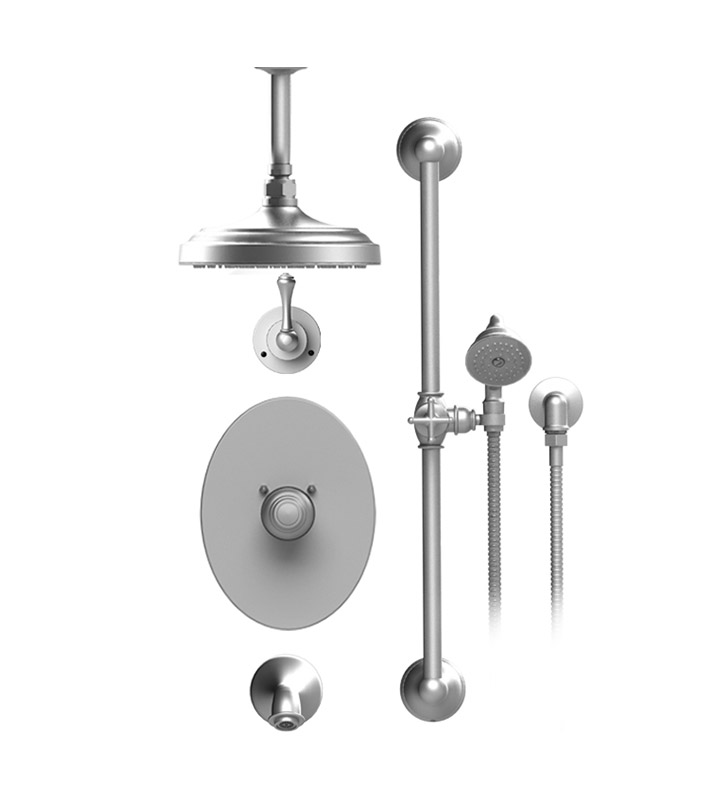 "Rubinet 25FML Flemish Temperature Control Tub & Shower with Three Way Diverter & Shut-Off, Handheld Shower, Bar, Integral Supply & Wall Mount Tub Filler Spout and Celling Mount 8"" Shower Head & Arm"