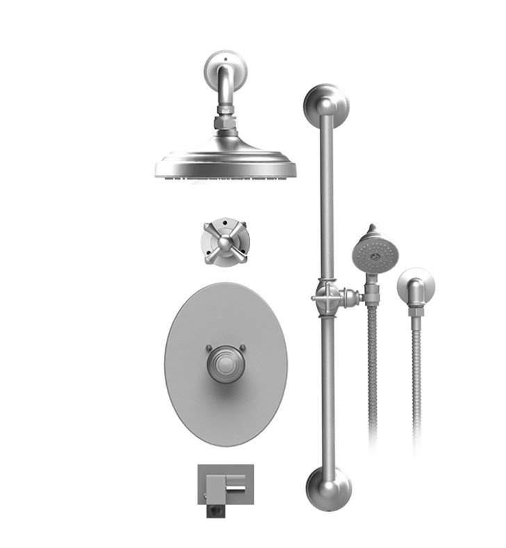 "Rubinet 27FMC Flemish Temperature Control Tub & Shower with Three Way Diverter & Shut-Off, Handheld Shower, Bar, Integral Supply, Wall Mount Bidet/Foot Rinse and Wall Mount 8"" Shower Head & Arm"