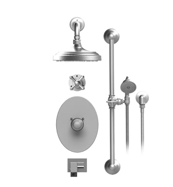 "Rubinet 27FMCCHCH Flemish Temperature Control Tub & Shower with Three Way Diverter & Shut-Off, Handheld Shower, Bar, Integral Supply, Wall Mount Bidet/Foot Rinse and Wall Mount 8"" Shower Head & Arm With Finish: Main Finish: Chrome 
