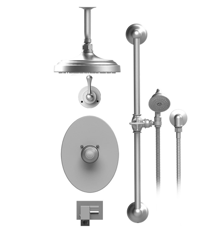 "Rubinet 28FMLSNSN Flemish Temperature Control Tub & Shower with Three Way Diverter & Shut-Off, Handheld Shower, Bar, Integral Supply, Wall Mount Bidet/Foot Rinse and Celling Mount 8"" Shower Head & Arm With Finish: Main Finish: Satin Nickel 