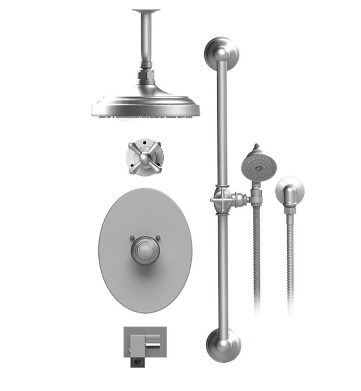 "Rubinet 28FMCSNSN Flemish Temperature Control Tub & Shower with Three Way Diverter & Shut-Off, Handheld Shower, Bar, Integral Supply, Wall Mount Bidet/Foot Rinse and Celling Mount 8"" Shower Head & Arm With Finish: Main Finish: Satin Nickel 