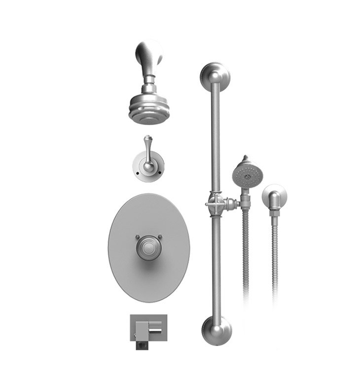 Rubinet 26FMLSNSN Flemish Temperature Control Tub & Shower with Three Way Diverter & Shut-Off, Handheld Shower, Bar, Integral Supply, Wall Mount Bidet/Foot Rinse and Aquatron 3 Function Shower Head & Arm With Finish: Main Finish: Satin Nickel | Accent Finish: Satin Nickel