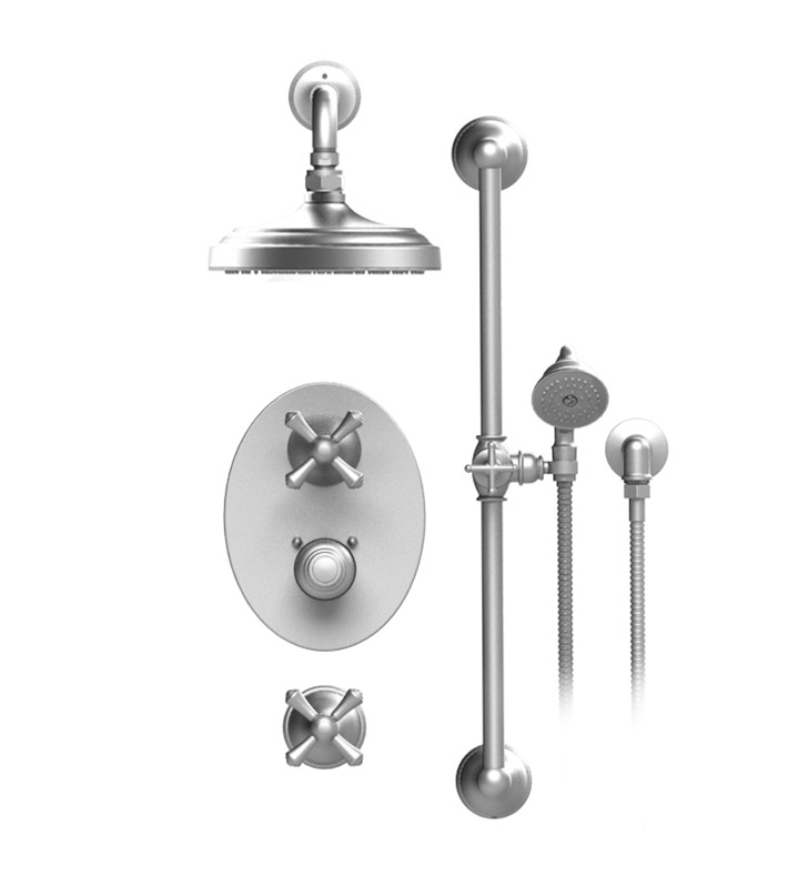 "Rubinet 41FMLSCCH Flemish Temperature Control Shower with Wall Mount 8"" Shower Head, Bar, Integral Supply & Hand Held Shower With Finish: Main Finish: Satin Chrome 