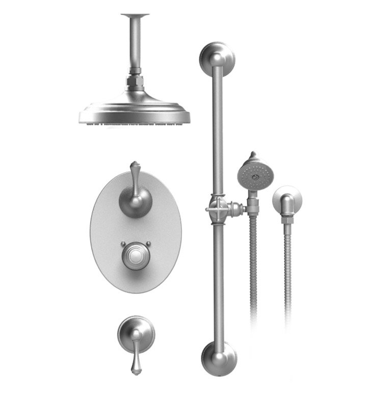"Rubinet 42FML Flemish Temperature Control Shower with Celling Mount 8"" Shower Head, Bar, Integral Supply & Hand Held Shower"