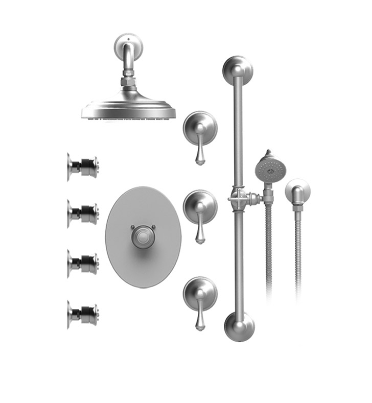 "Rubinet 46FMLCHCH Flemish Temperature Control Shower with Wall Mount 8"" Shower Head, Bar, Integral Supply, Hand Held Shower & Four Body Sprays With Finish: Main Finish: Chrome 