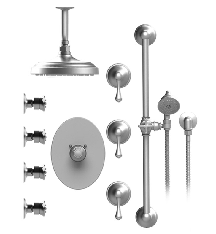 "Rubinet 47FMLGDGD Flemish Temperature Control Shower with Celling Mount 8"" Shower Head, Bar, Integral Supply, Hand Held Shower & Four Body Sprays With Finish: Main Finish: Gold 
