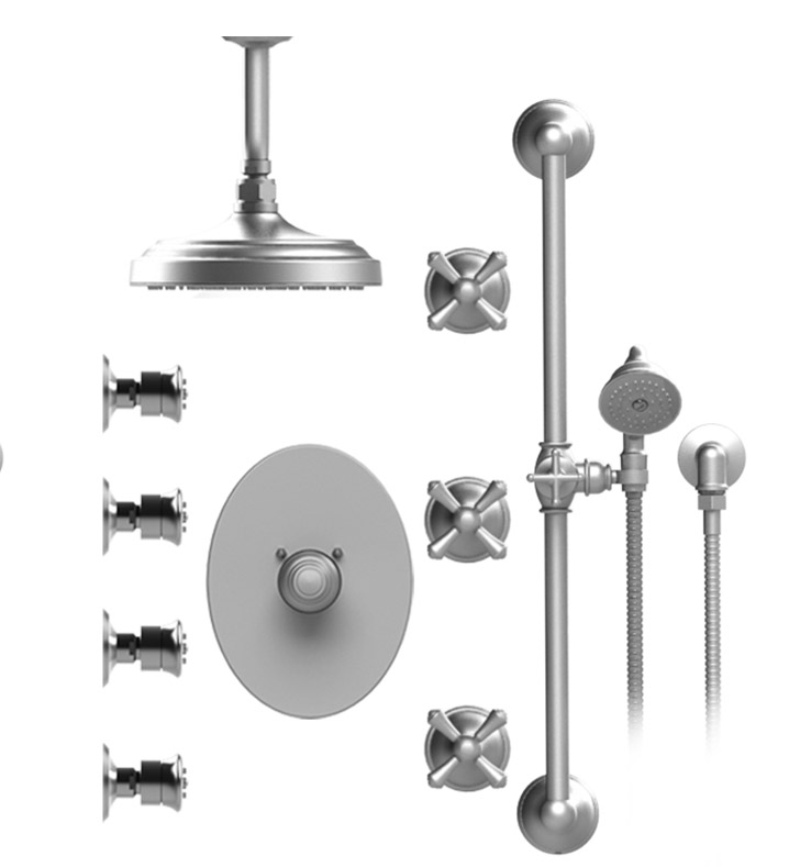 "Rubinet 47FMCSNSN Flemish Temperature Control Shower with Celling Mount 8"" Shower Head, Bar, Integral Supply, Hand Held Shower & Four Body Sprays With Finish: Main Finish: Satin Nickel 