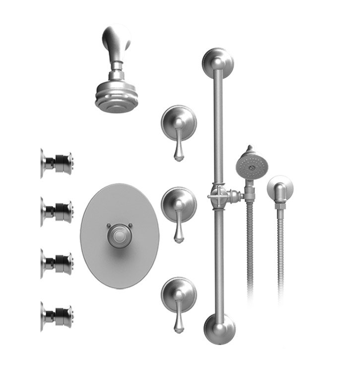 Rubinet 45FMCCHCH Flemish Temperature Control Shower with Aquatron 3 Function Shower Head, Bar, Integral Supply, Hand Held Shower & Four Body Sprays With Finish: Main Finish: Chrome | Accent Finish: Chrome