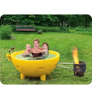 ALFI Brand FireHotTub-YE Round Fire Burning Portable Outdoor Yellow Fiberglass Soaking Hot Tub