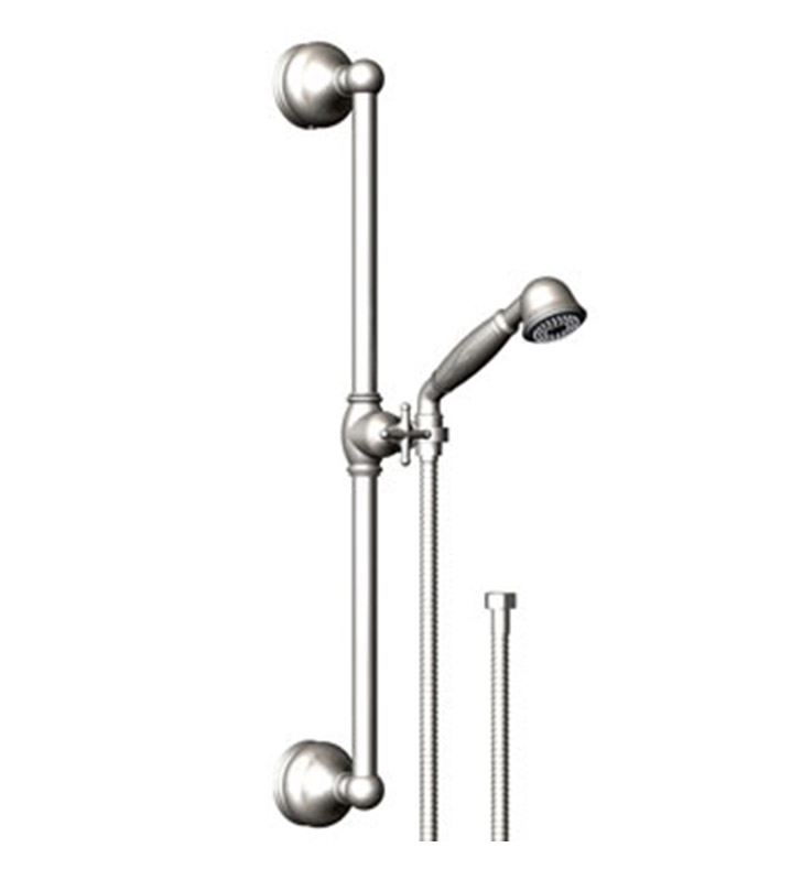 Rubinet 4GRM0SNCH Romanesque Adjustable Slide Bar & Hand Held Shower Assembly With Finish: Main Finish: Satin Nickel | Accent Finish: Chrome