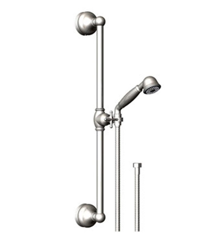 Rubinet 4GRM0SNGD Romanesque Adjustable Slide Bar & Hand Held Shower Assembly With Finish: Main Finish: Satin Nickel | Accent Finish: Gold