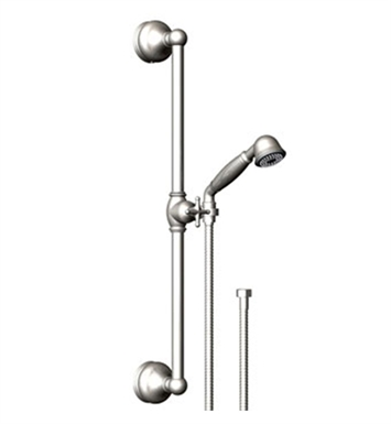 Rubinet 4GRM0PNPN Romanesque Adjustable Slide Bar & Hand Held Shower Assembly With Finish: Main Finish: Polished Nickel | Accent Finish: Polished Nickel