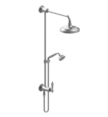 Rubinet 4URM1CHCH Romanesque Bar with Inlet at Diverter, Shower Head, Shower Arm, Adjustable Slide Bar and Hand Held Shower with Diverter With Finish: Main Finish: Chrome | Accent Finish: Chrome
