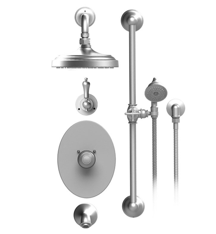 "Rubinet 24RMLSNSN Romanesque Temperature Control Tub & Shower with Three Way Diverter & Shut-Off, Handheld Shower, Bar, Integral Supply & Wall Mount Tub Filler Spout and Wall Mount 8"" Shower Head & Arm With Finish: Main Finish: Satin Nickel 