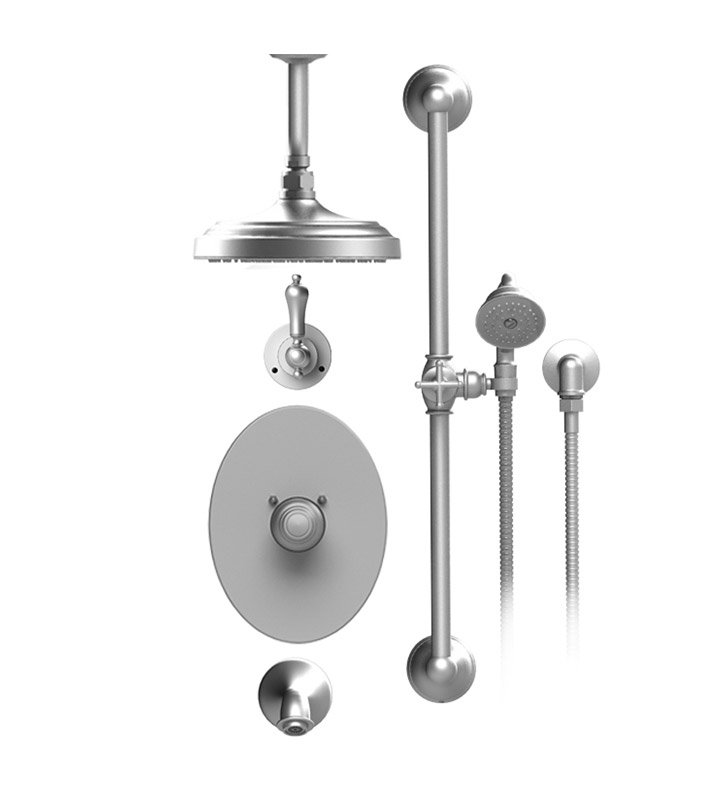 "Rubinet 25RML Romanesque Temperature Control Tub & Shower with Three Way Diverter & Shut-Off, Handheld Shower, Bar, Integral Supply & Wall Mount Tub Filler Spout and Celling Mount 8"" Shower Head & Arm"