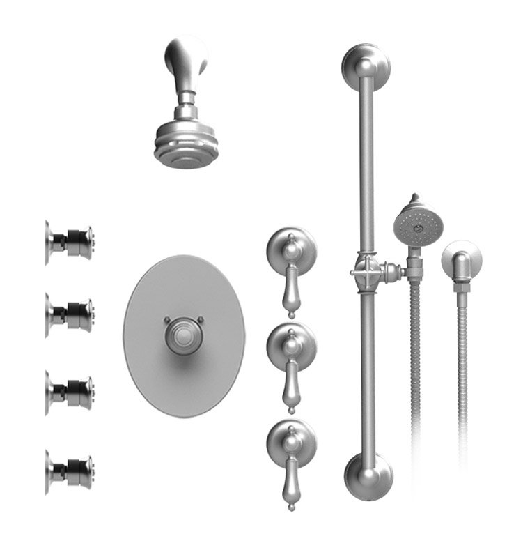 Rubinet 45RMLCHCH Romanesque Temperature Control Shower with Aquatron 3 Function Shower Head, Bar, Integral Supply, Hand Held Shower & Four Body Sprays With Finish: Main Finish: Chrome | Accent Finish: Chrome