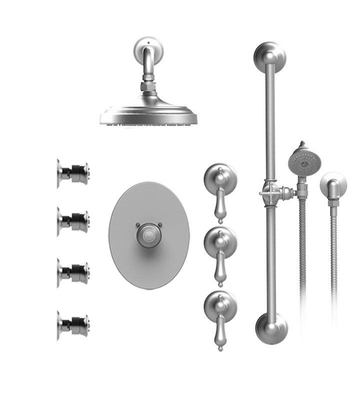 "Rubinet 46RMLSNSN Romanesque Temperature Control Shower with Wall Mount 8"" Shower Head, Bar, Integral Supply, Hand Held Shower & Four Body Sprays With Finish: Main Finish: Satin Nickel 