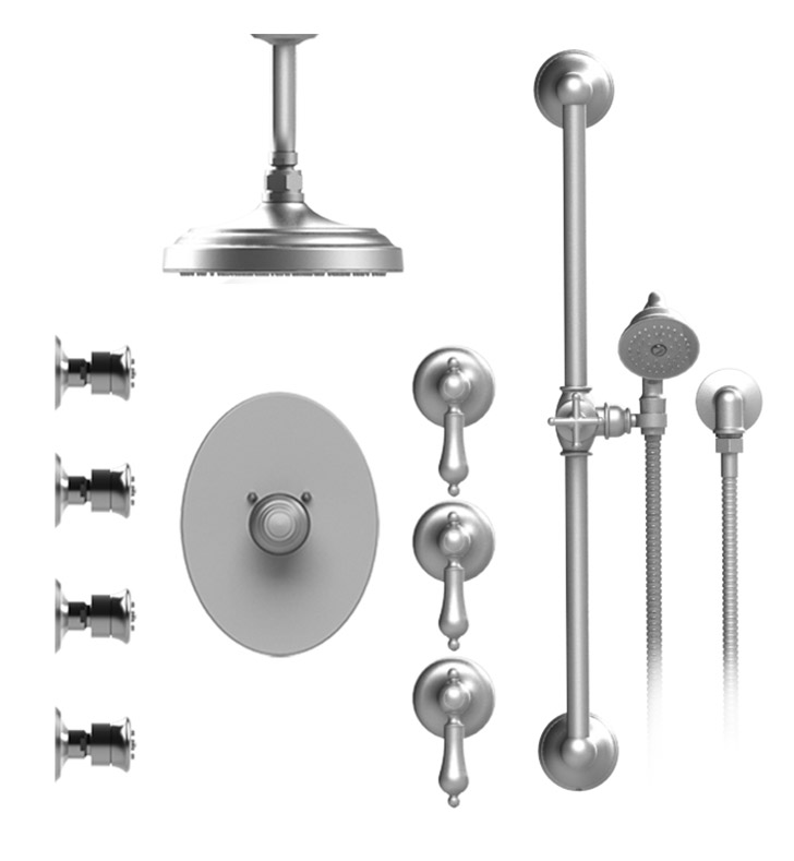 "Rubinet 47RMLGDGD Romanesque Temperature Control Shower with Celling Mount 8"" Shower Head, Bar, Integral Supply, Hand Held Shower & Four Body Sprays With Finish: Main Finish: Gold 