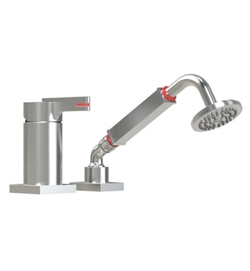 Rubinet 5RRTLSNSN R10 Pressure Balance Deck Mount Mixing Valve with Hand Held Shower & Built-In Vacuum Breaker With Finish: Main Finish: Satin Nickel | Accent Finish: Satin Nickel