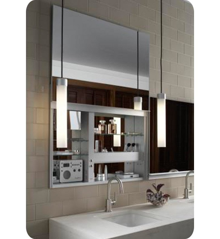 "Robern UC3627FP Uplift 36"" Customizable Medicine Cabinet with LED Interior Lighting, Electrical Outlets and Interior Mirror"