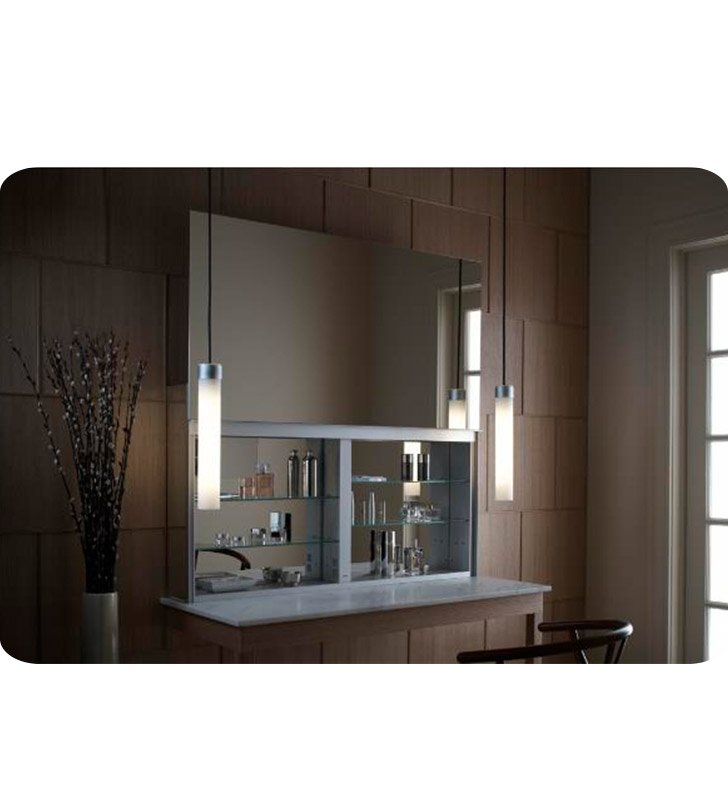 "Robern UC4827FPE Uplift 48"" Customizable Medicine Cabinet with LED Interior Lighting, Electrical Outlets and Interior Mirror With Cabinet Light: Electrical Outlet"