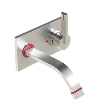 Rubinet 1JRTLRDSC R10 Wall Mount Single Control Lavatory Set with Push-Up Drain Assembly & Stops With Finish: Main Finish: Red | Accent Finish: Satin Chrome