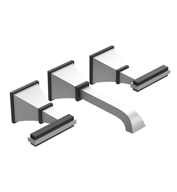 Rubinet 1GMQLCHSC Matthew Quinn Wall Mount Lavatory Set with Push-Up Drain Assembly With Finish: Main Finish: Chrome | Accent Finish: Satin Chrome