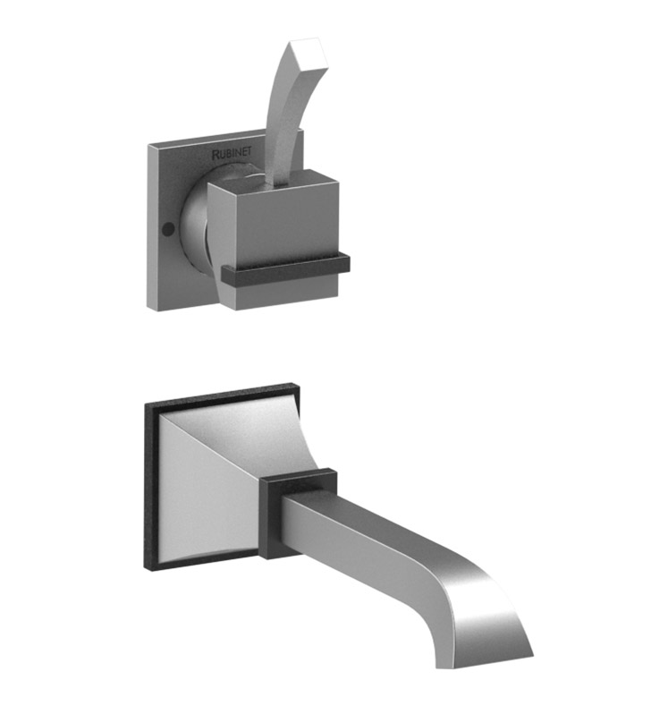 Rubinet 1JMQ1MBSN Matthew Quinn Wall Mount Single Control Lavatory Set with Push-Up Drain Assembly With Finish: Main Finish: Matt Black | Accent Finish: Satin Nickel