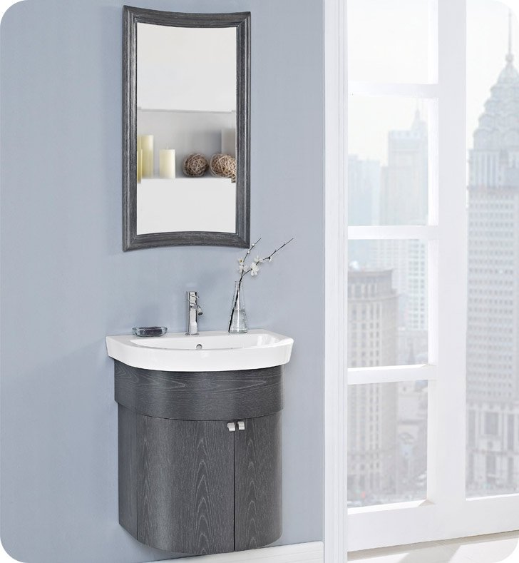 Fairmont Designs 150-WV24 Boulevard 24 inch Curved Wall Mount Vanity in Charcoal Gray