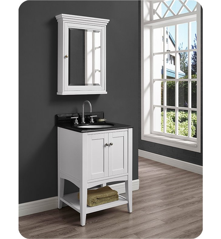 "Fairmont Designs 1512-VH24 Shaker Americana 24"" Open Shelf Vanity in Polar White"