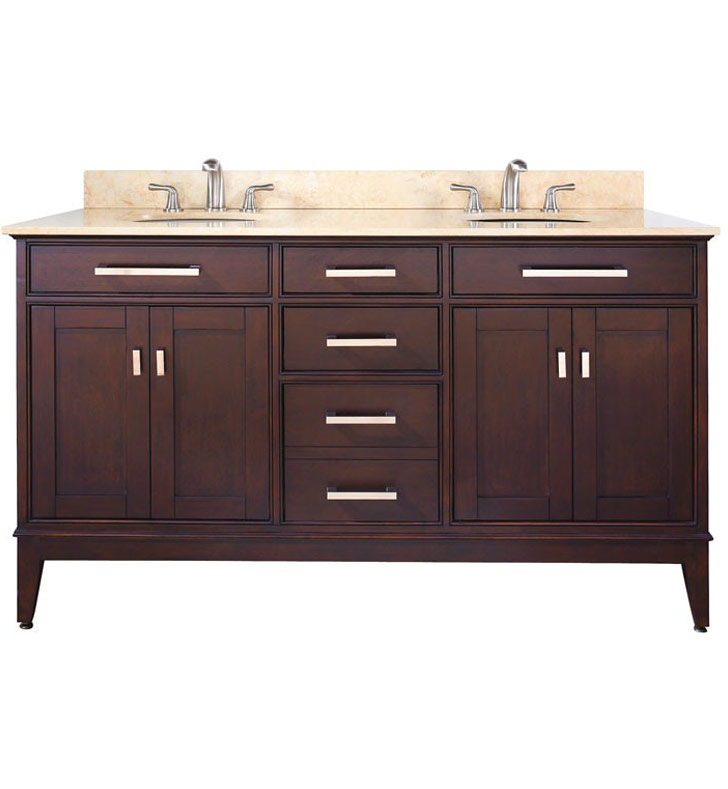 "Avanity MADISON-V60-LE Madison 60"" Light Espresso Double Sink Antique Bathroom Vanity"