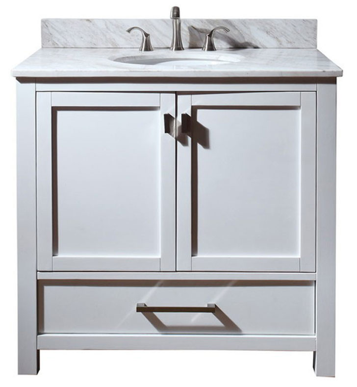 "Avanity MODERO-V36-WT Modero 36"" White Contemporary Bathroom Vanity"