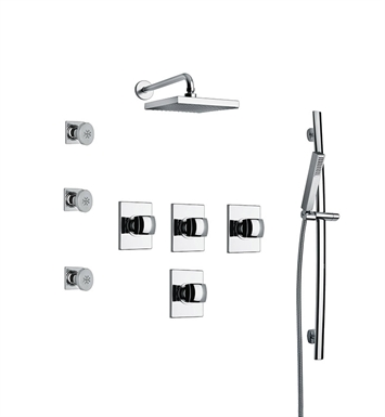 LaToscana LA-OPTION-7VC Lady 7VC Shower System with Showerhead, Slidebar, Handshower and 3 Body Jets